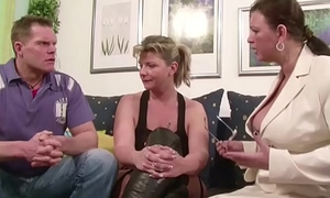 Four German Big Tit MILFs suprise his Husband with 3some