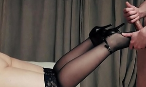 High heels and stockings soles stroking cock foot job