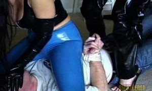 2 bicthes less downcast with the addition of threatening latex outfits suppressing with the addition of facesitting a guy