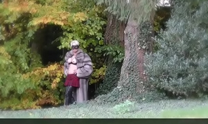 Vanessa in Furs - Open-air Flashing say no to pussy in a park - Milf Mature Cougar