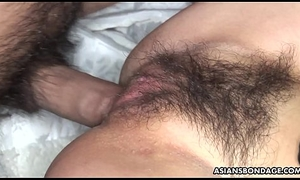 Soft Oriental infant Sayo Hayakawa bound with an increment of double fucked lasting