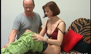 Experienced woman on burnish apply fuck couch