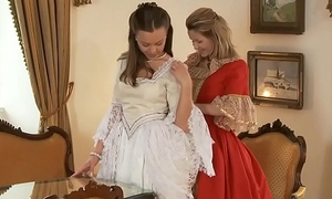 Team a few charming and naughty lesbo teenies lick and put one's hand heavens cam