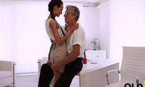 OLD4K. Beautiful brunette successfully seduced the brush middle-aged brass hats