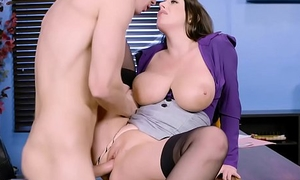 My slutty secretary squirts on my cock concerning the office